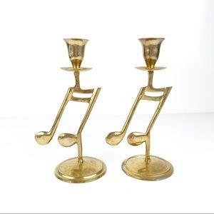 "Brass Music Note 8"" Inch Candlesticks Set of 2"